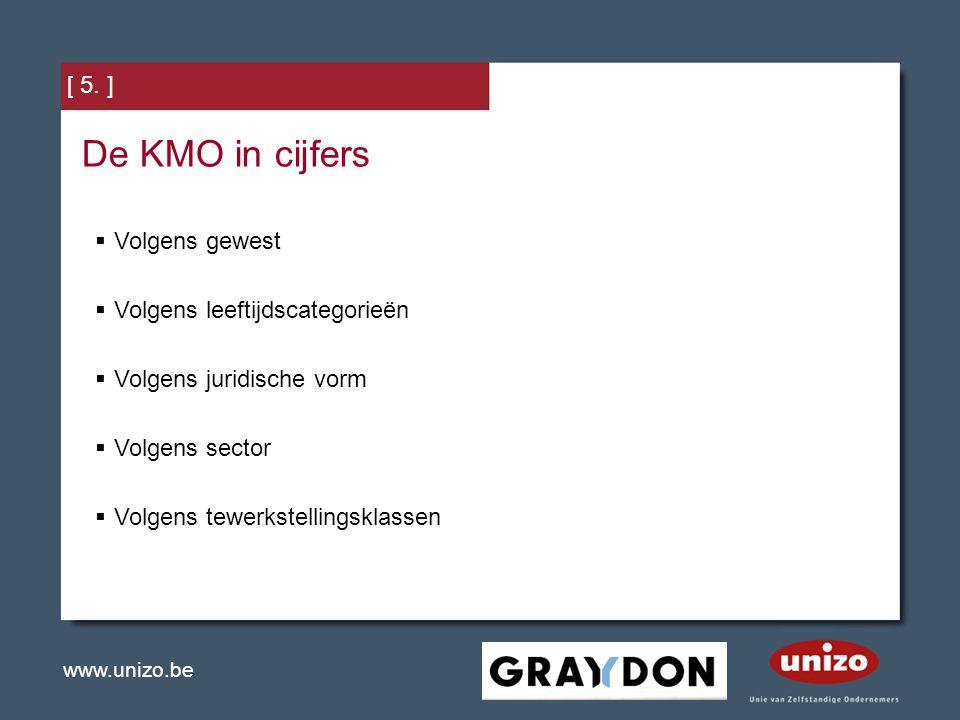 www.unizo.be [ 5. ] De KMO in cijfers  Volgens gewest  Volgens leeftijdscategorieën  Volgens juridische vorm  Volgens sector  Volgens tewerkstell