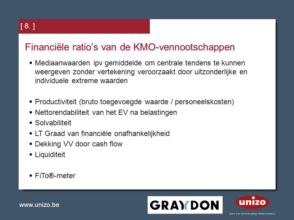 www.unizo.be [ 8. ] Financiële ratio's van de KMO-vennootschappen  Mediaanwaarden ipv gemiddelde om centrale tendens te kunnen weergeven zonder verte