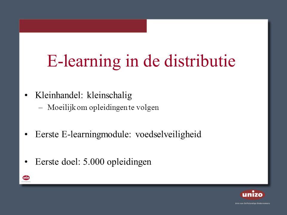 E-learning in de distributie Kleinhandel: kleinschalig –Moeilijk om opleidingen te volgen Eerste E-learningmodule: voedselveiligheid Eerste doel: 5.00