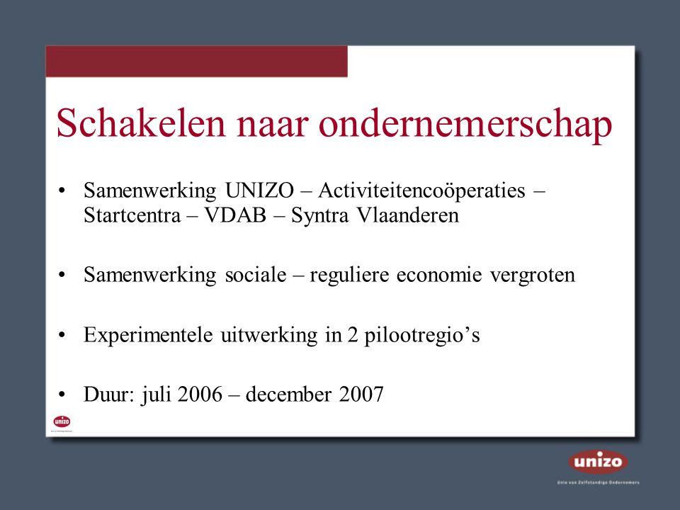 Schakelen naar ondernemerschap Samenwerking UNIZO – Activiteitencoöperaties – Startcentra – VDAB – Syntra Vlaanderen Samenwerking sociale – reguliere