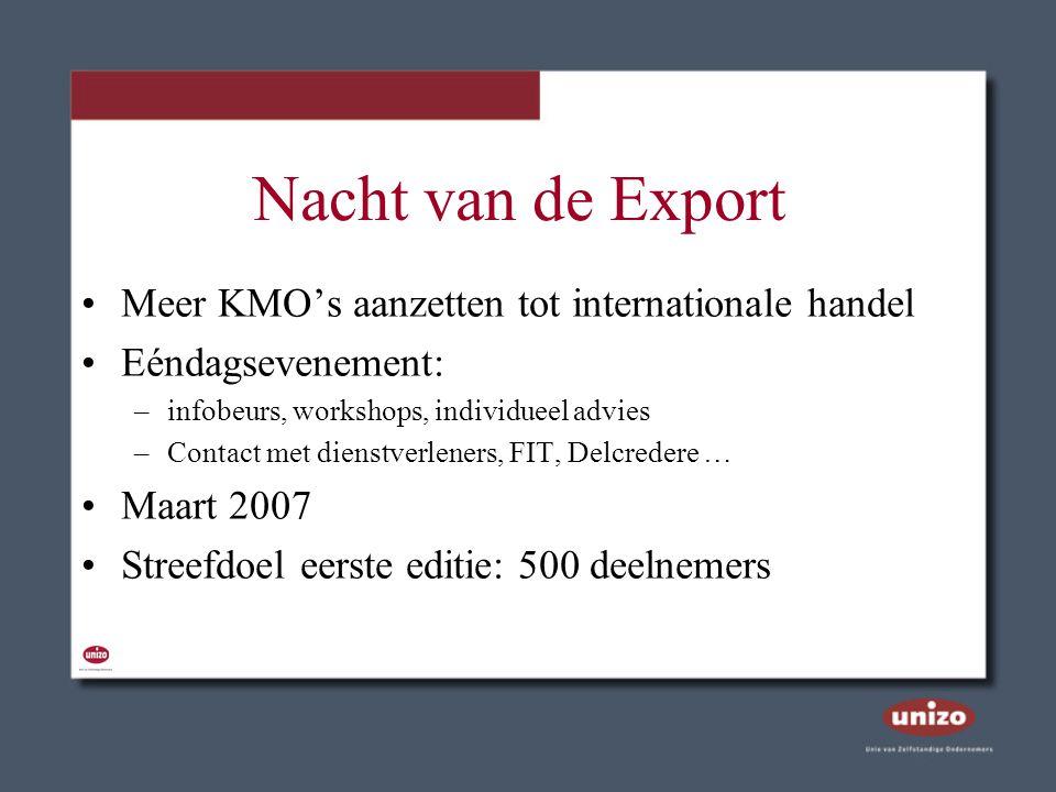 Nacht van de Export Meer KMO's aanzetten tot internationale handel Eéndagsevenement: –infobeurs, workshops, individueel advies –Contact met dienstverl