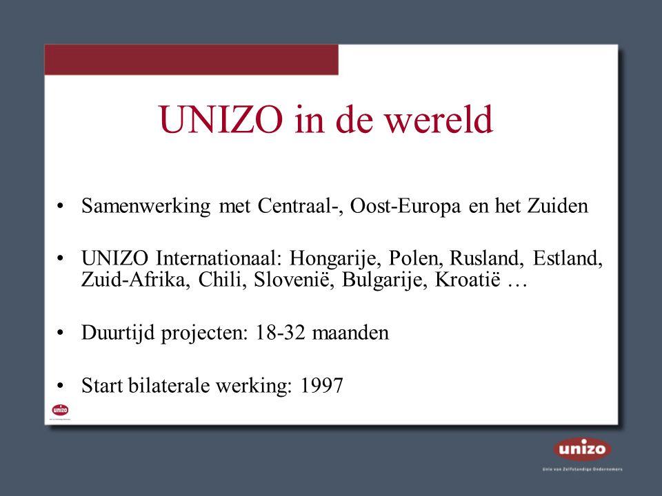 UNIZO in de wereld Samenwerking met Centraal-, Oost-Europa en het Zuiden UNIZO Internationaal: Hongarije, Polen, Rusland, Estland, Zuid-Afrika, Chili,