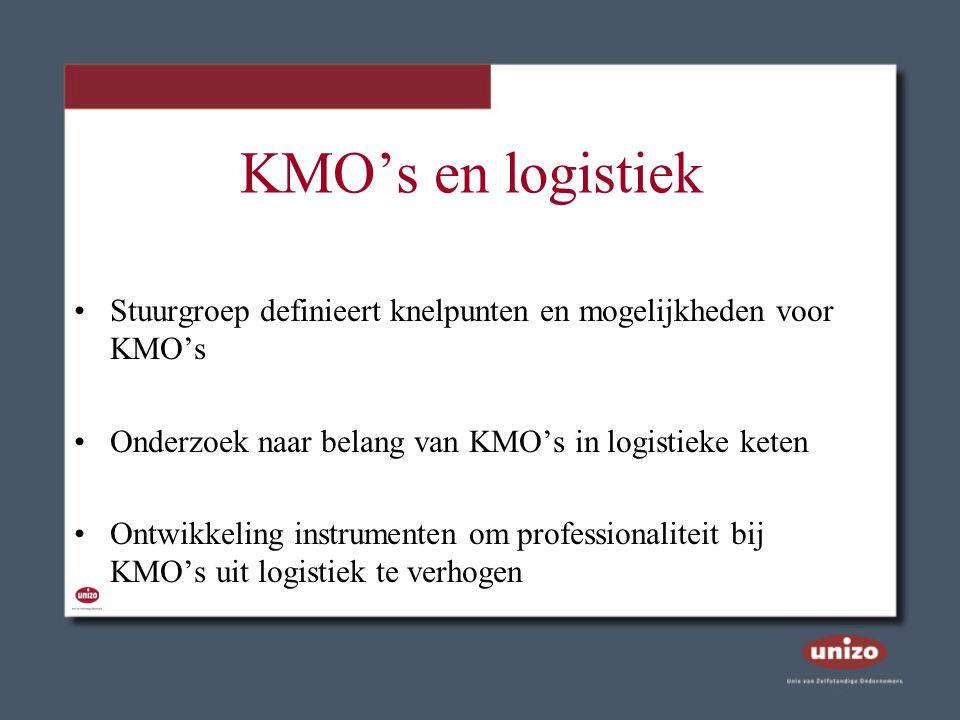KMO's en logistiek Stuurgroep definieert knelpunten en mogelijkheden voor KMO's Onderzoek naar belang van KMO's in logistieke keten Ontwikkeling instr