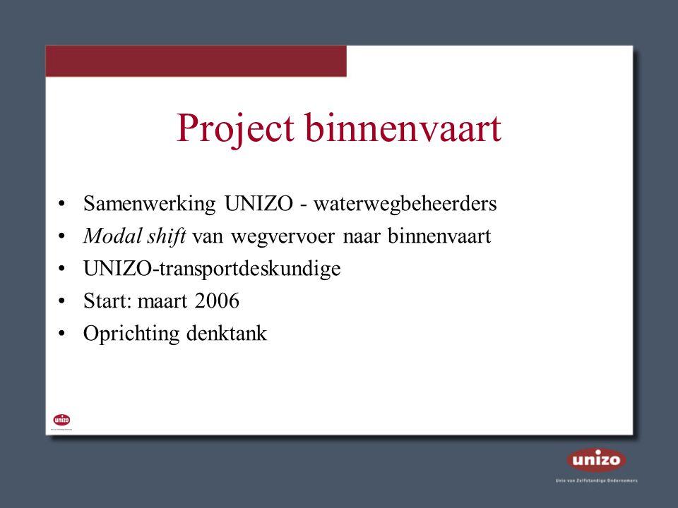 Project binnenvaart Samenwerking UNIZO - waterwegbeheerders Modal shift van wegvervoer naar binnenvaart UNIZO-transportdeskundige Start: maart 2006 Op