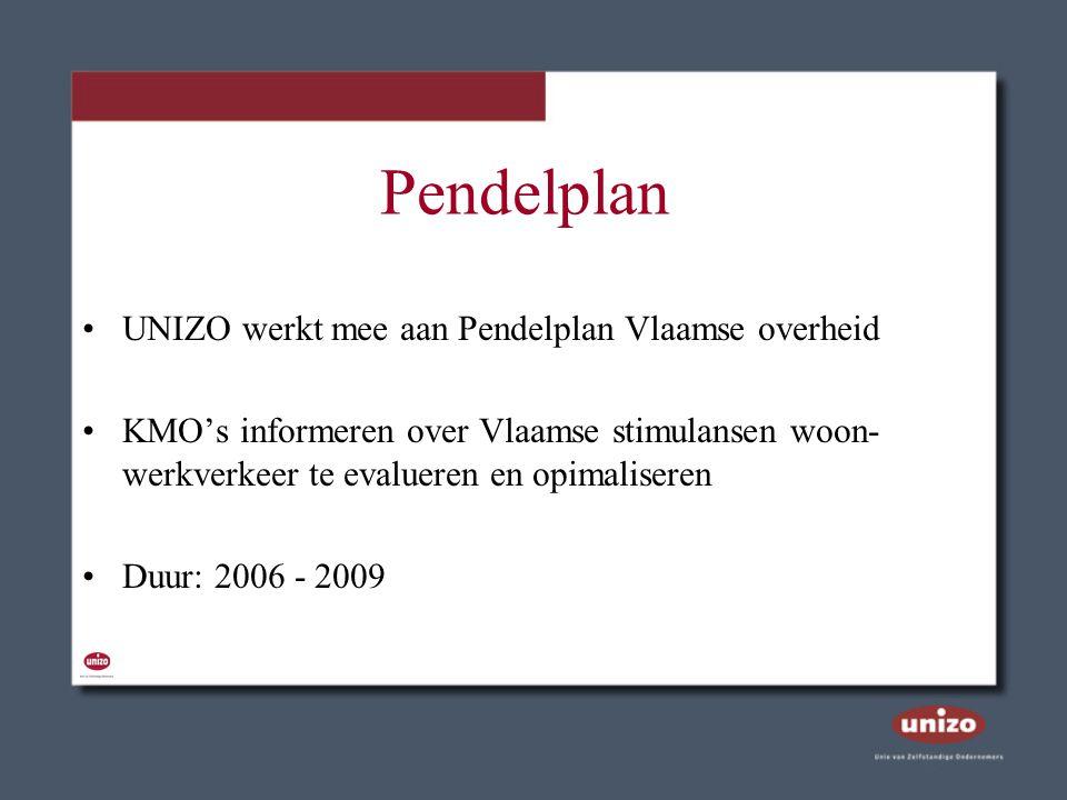 Pendelplan UNIZO werkt mee aan Pendelplan Vlaamse overheid KMO's informeren over Vlaamse stimulansen woon- werkverkeer te evalueren en opimaliseren Du