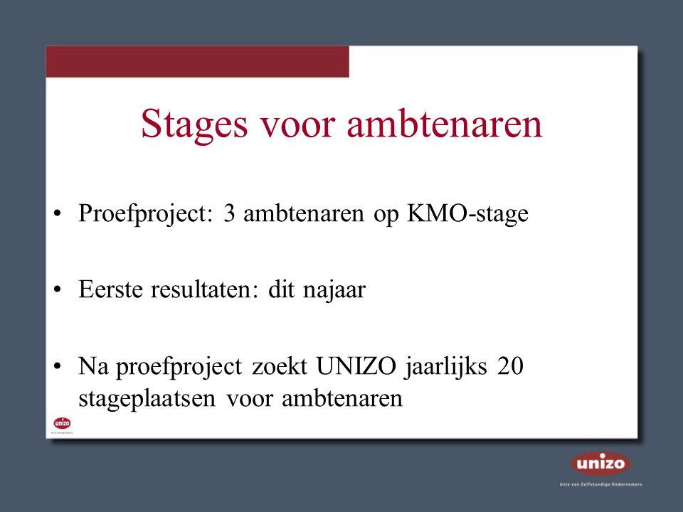 Stages voor ambtenaren Proefproject: 3 ambtenaren op KMO-stage Eerste resultaten: dit najaar Na proefproject zoekt UNIZO jaarlijks 20 stageplaatsen vo