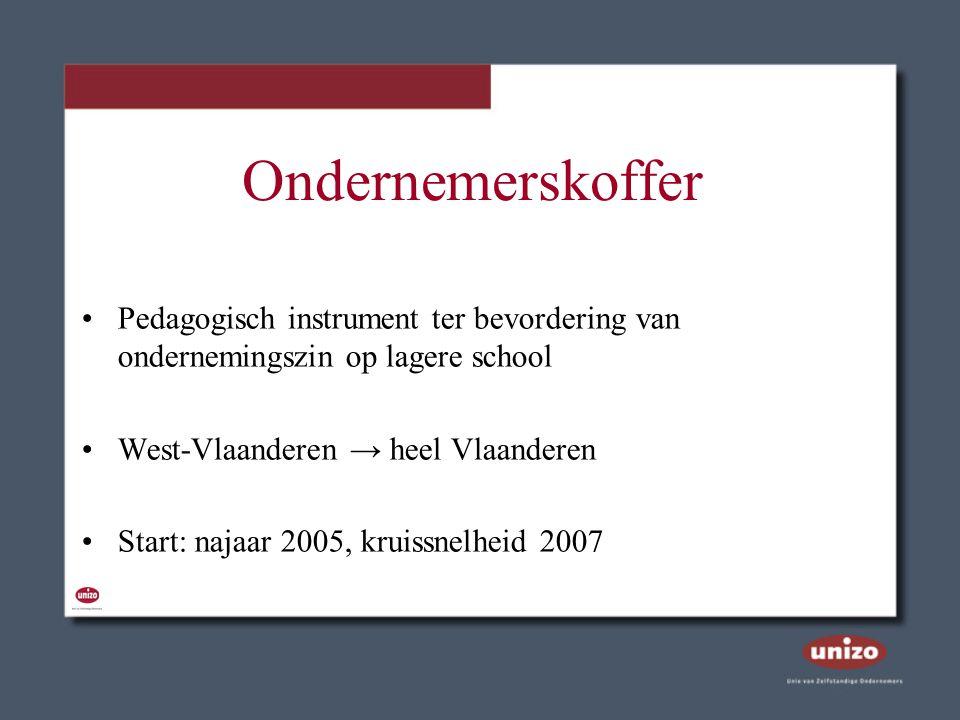 Ondernemerskoffer Pedagogisch instrument ter bevordering van ondernemingszin op lagere school West-Vlaanderen → heel Vlaanderen Start: najaar 2005, kr