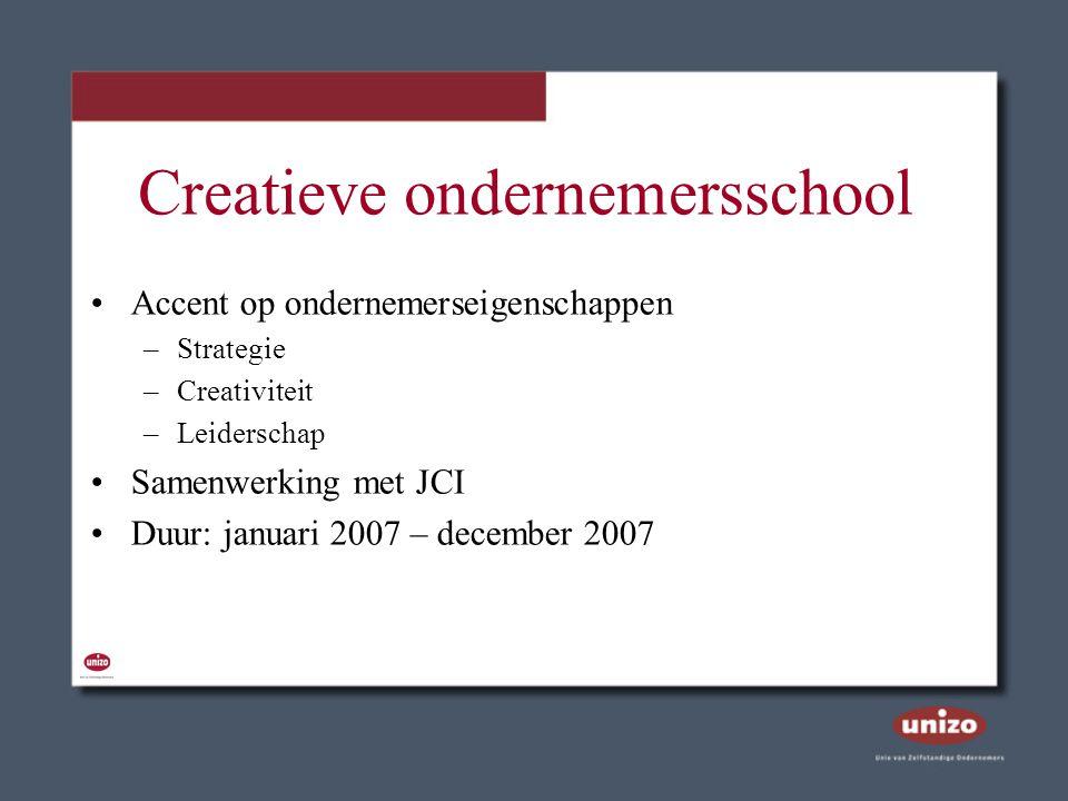 Creatieve ondernemersschool Accent op ondernemerseigenschappen –Strategie –Creativiteit –Leiderschap Samenwerking met JCI Duur: januari 2007 – decembe