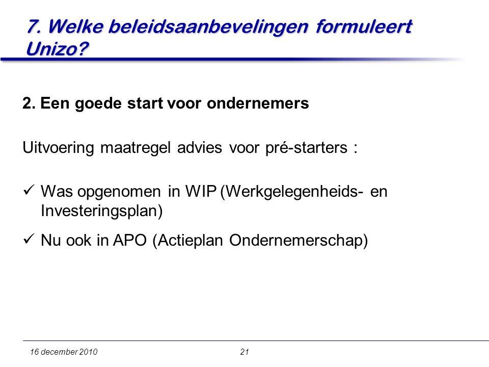 7. Welke beleidsaanbevelingen formuleert Unizo. 16 december 201021 2.