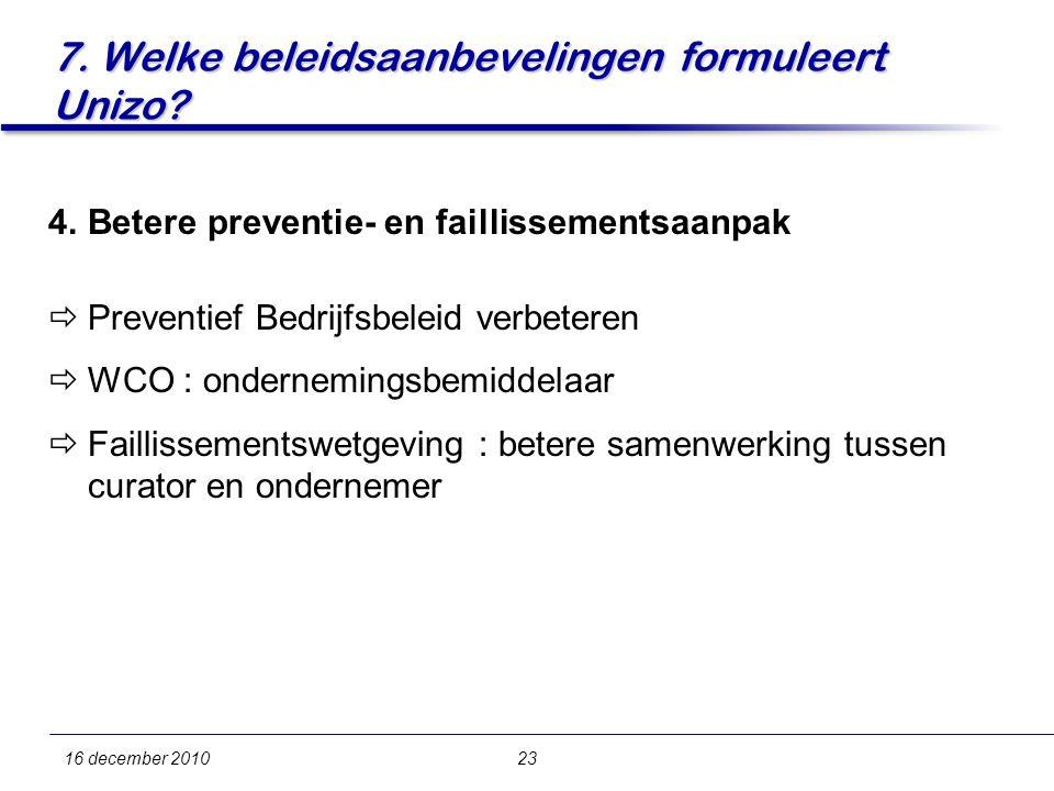 7. Welke beleidsaanbevelingen formuleert Unizo.