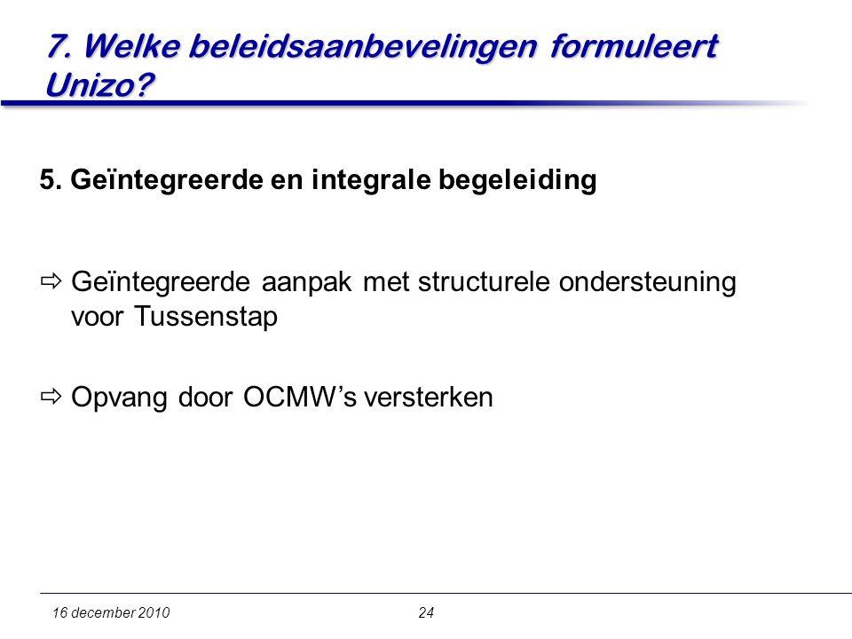 7. Welke beleidsaanbevelingen formuleert Unizo. 16 december 201024 5.