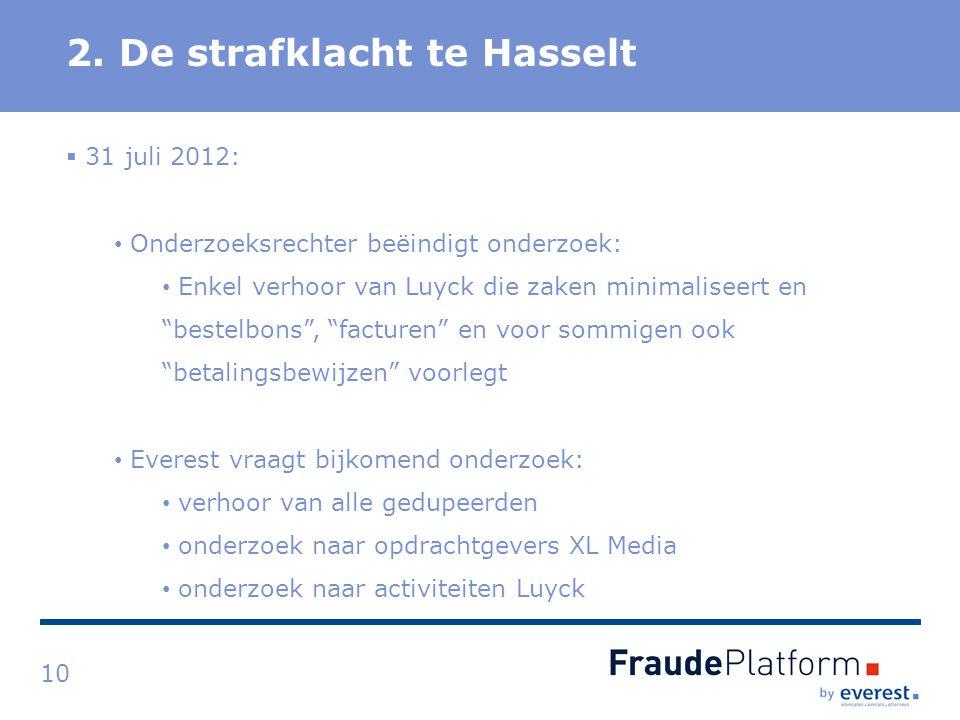 """Titel 2. De strafklacht te Hasselt 10  31 juli 2012: Onderzoeksrechter beëindigt onderzoek: Enkel verhoor van Luyck die zaken minimaliseert en """"beste"""