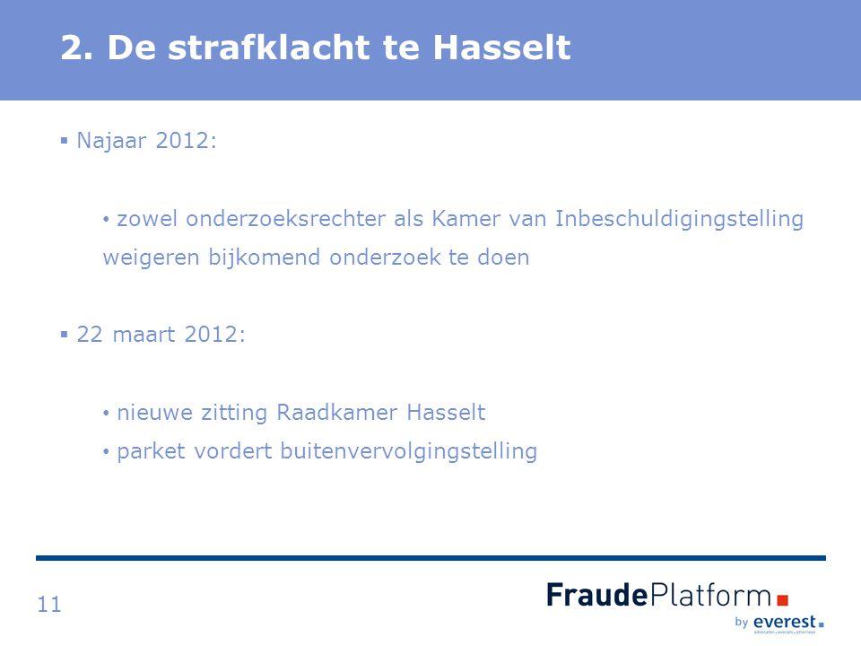 Titel 2. De strafklacht te Hasselt 11  Najaar 2012: zowel onderzoeksrechter als Kamer van Inbeschuldigingstelling weigeren bijkomend onderzoek te doe