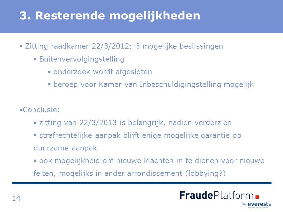 Titel 3. Resterende mogelijkheden 14  Zitting raadkamer 22/3/2012: 3 mogelijke beslissingen  Buitenvervolgingstelling  onderzoek wordt afgesloten 