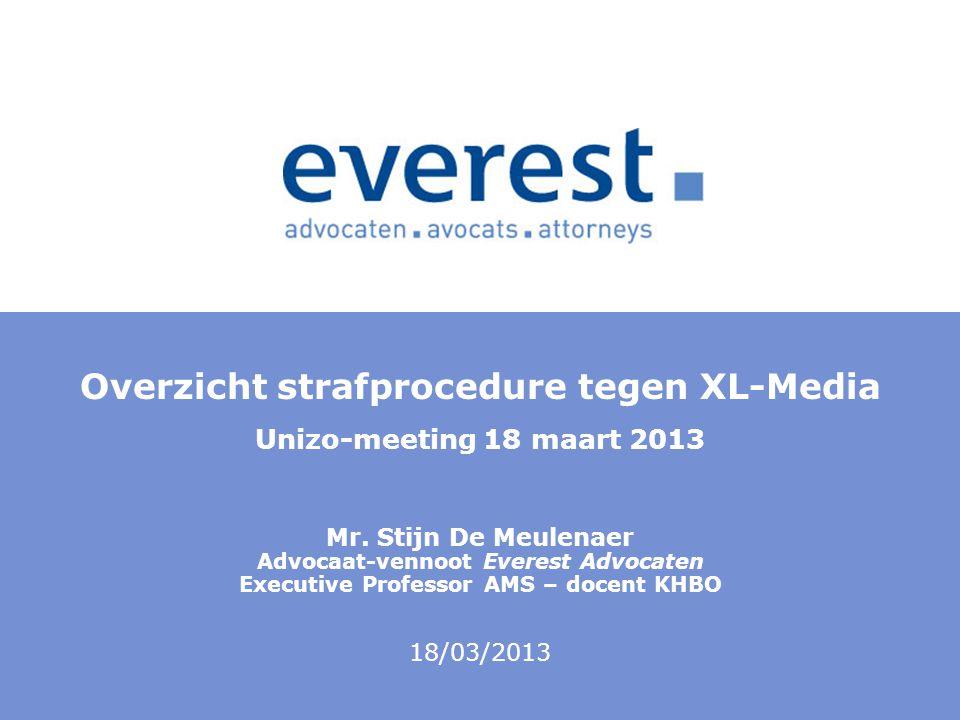 Overzicht strafprocedure tegen XL-Media Unizo-meeting 18 maart 2013 Mr. Stijn De Meulenaer Advocaat-vennoot Everest Advocaten Executive Professor AMS