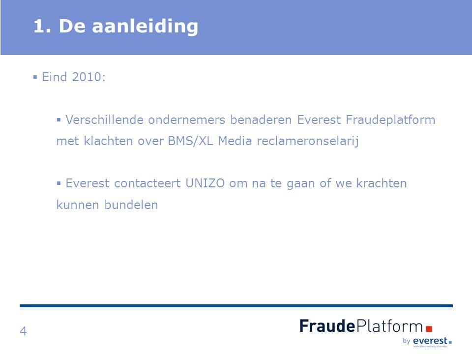 Titel 1. De aanleiding 4  Eind 2010:  Verschillende ondernemers benaderen Everest Fraudeplatform met klachten over BMS/XL Media reclameronselarij 