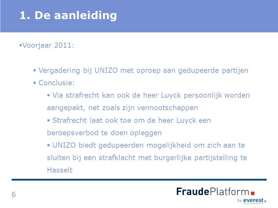 Titel 1. De aanleiding 6  Voorjaar 2011:  Vergadering bij UNIZO met oproep aan gedupeerde partijen  Conclusie:  Via strafrecht kan ook de heer Luy