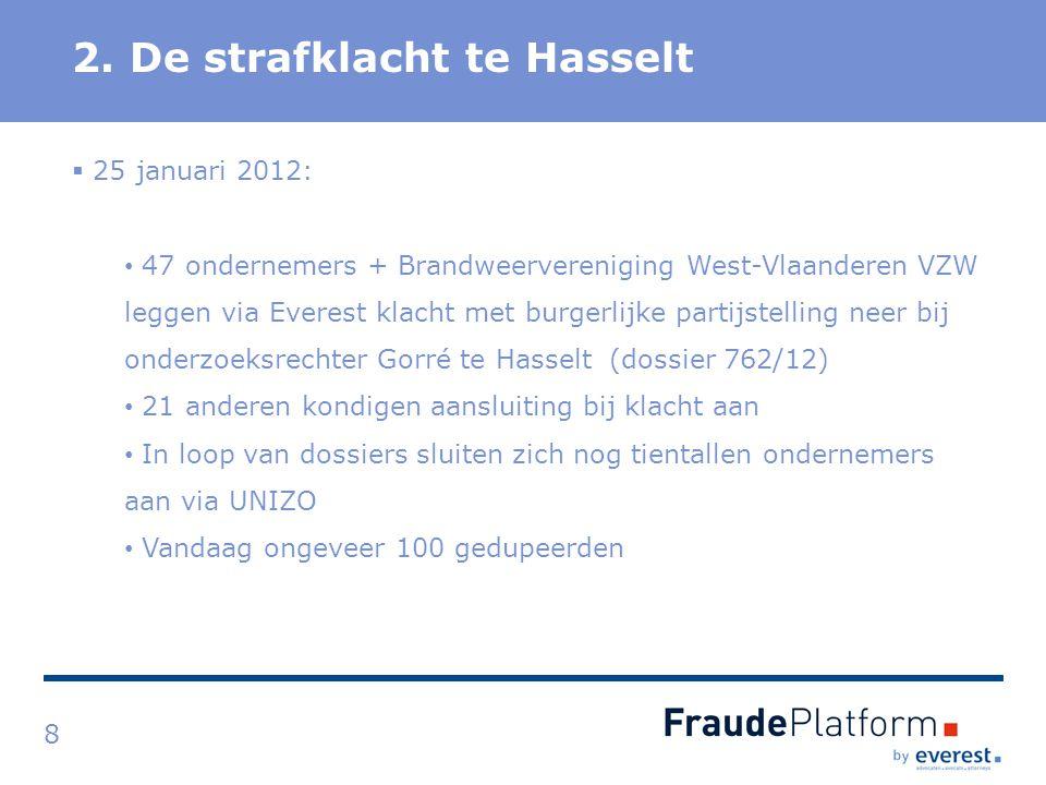 Titel 2. De strafklacht te Hasselt 8  25 januari 2012: 47 ondernemers + Brandweervereniging West-Vlaanderen VZW leggen via Everest klacht met burgerl