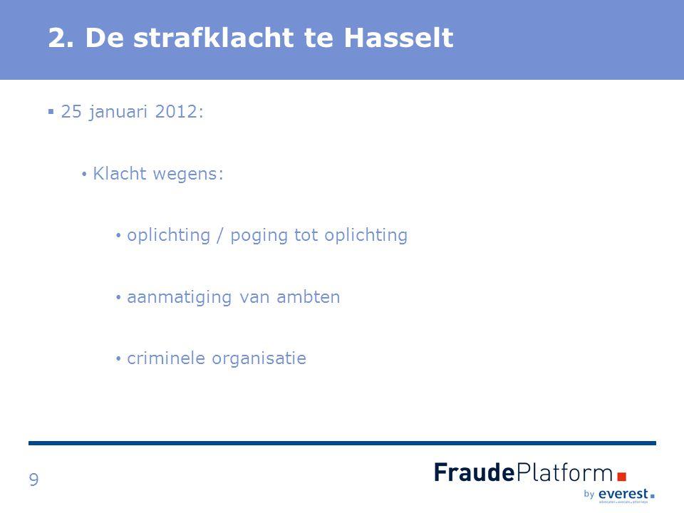 Titel 2. De strafklacht te Hasselt 9  25 januari 2012: Klacht wegens: oplichting / poging tot oplichting aanmatiging van ambten criminele organisatie