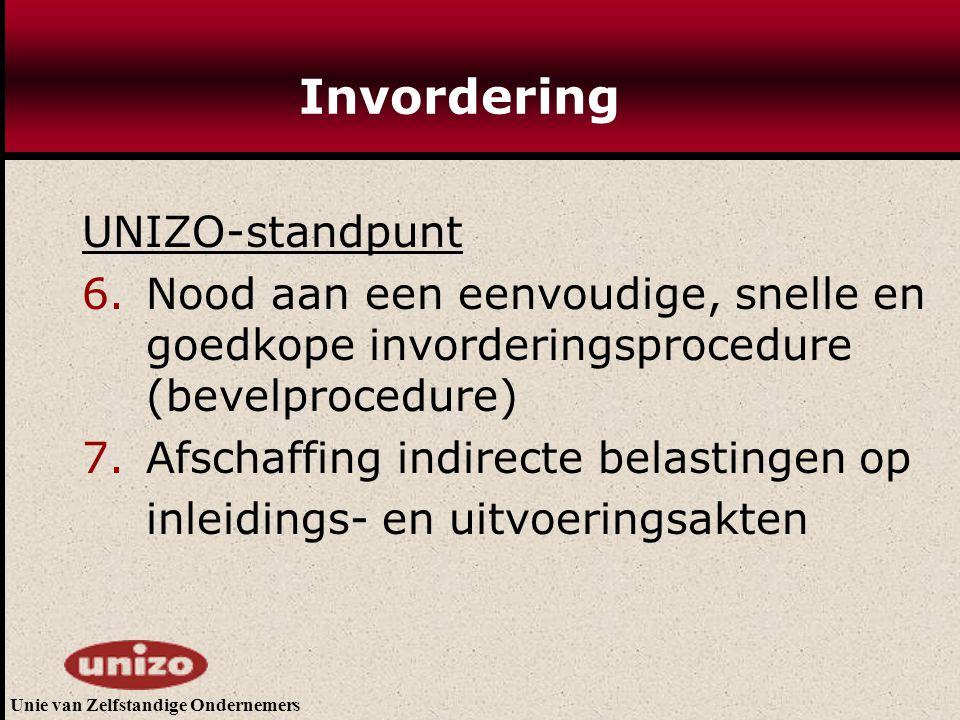 Unie van Zelfstandige Ondernemers Invordering UNIZO-standpunt 6.