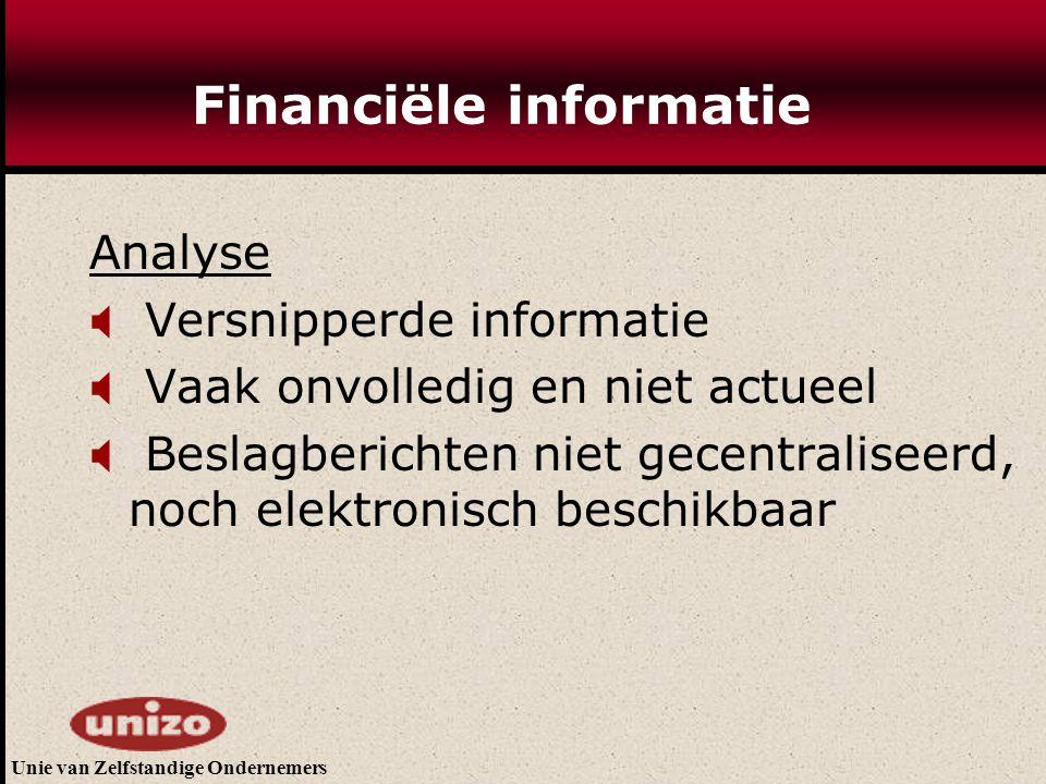Unie van Zelfstandige Ondernemers Financiële informatie Analyse  Versnipperde informatie  Vaak onvolledig en niet actueel  Beslagberichten niet gecentraliseerd, noch elektronisch beschikbaar