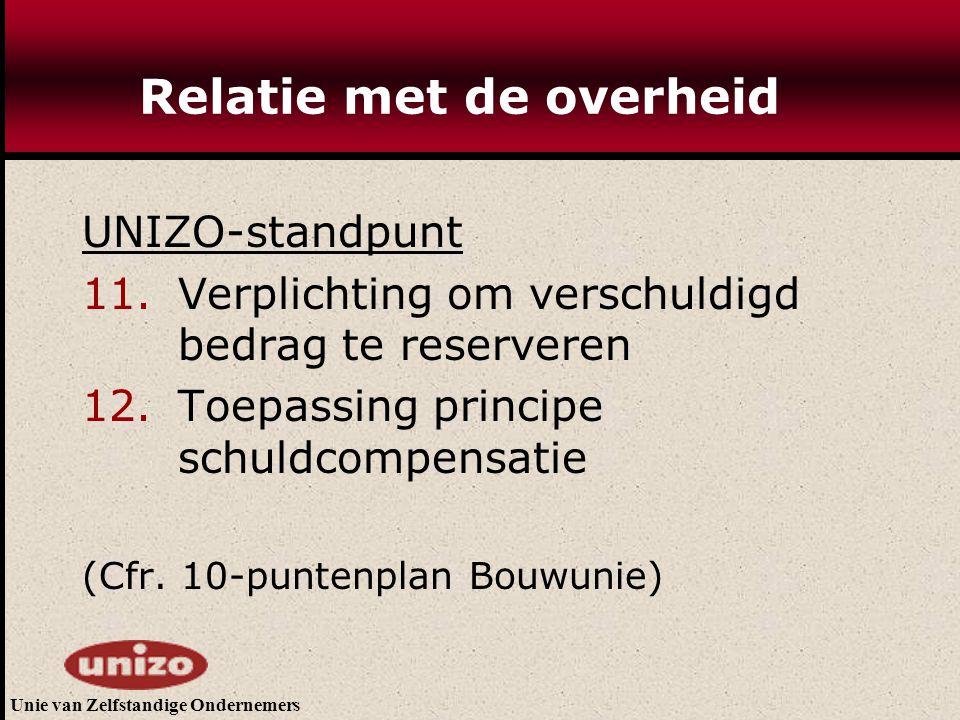 Unie van Zelfstandige Ondernemers Relatie met de overheid UNIZO-standpunt 11. Verplichting om verschuldigd bedrag te reserveren 12. Toepassing princip