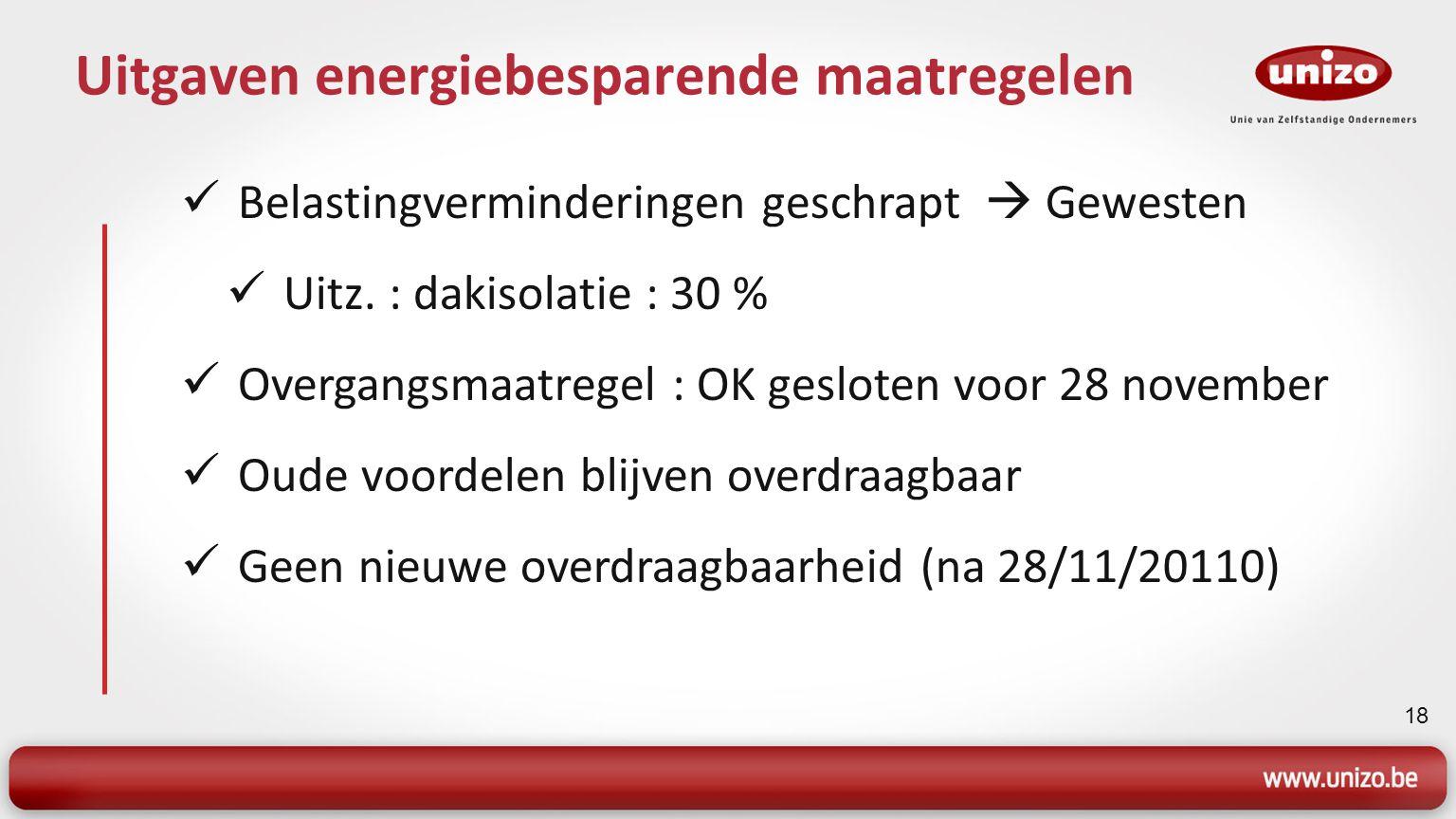 18 Uitgaven energiebesparende maatregelen Belastingverminderingen geschrapt  Gewesten Uitz. : dakisolatie : 30 % Overgangsmaatregel : OK gesloten voo
