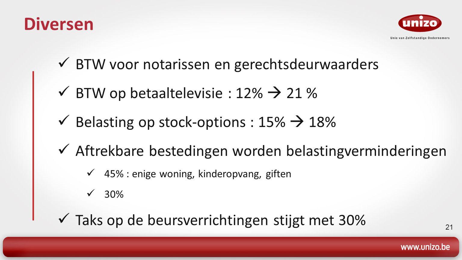 21 Diversen BTW voor notarissen en gerechtsdeurwaarders BTW op betaaltelevisie : 12%  21 % Belasting op stock-options : 15%  18% Aftrekbare bestedin