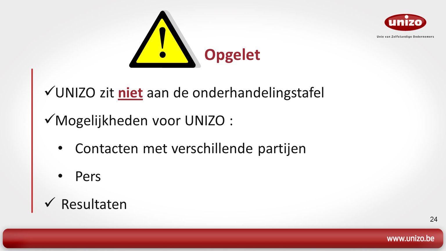 24 UNIZO zit niet aan de onderhandelingstafel Mogelijkheden voor UNIZO : Contacten met verschillende partijen Pers Resultaten Opgelet