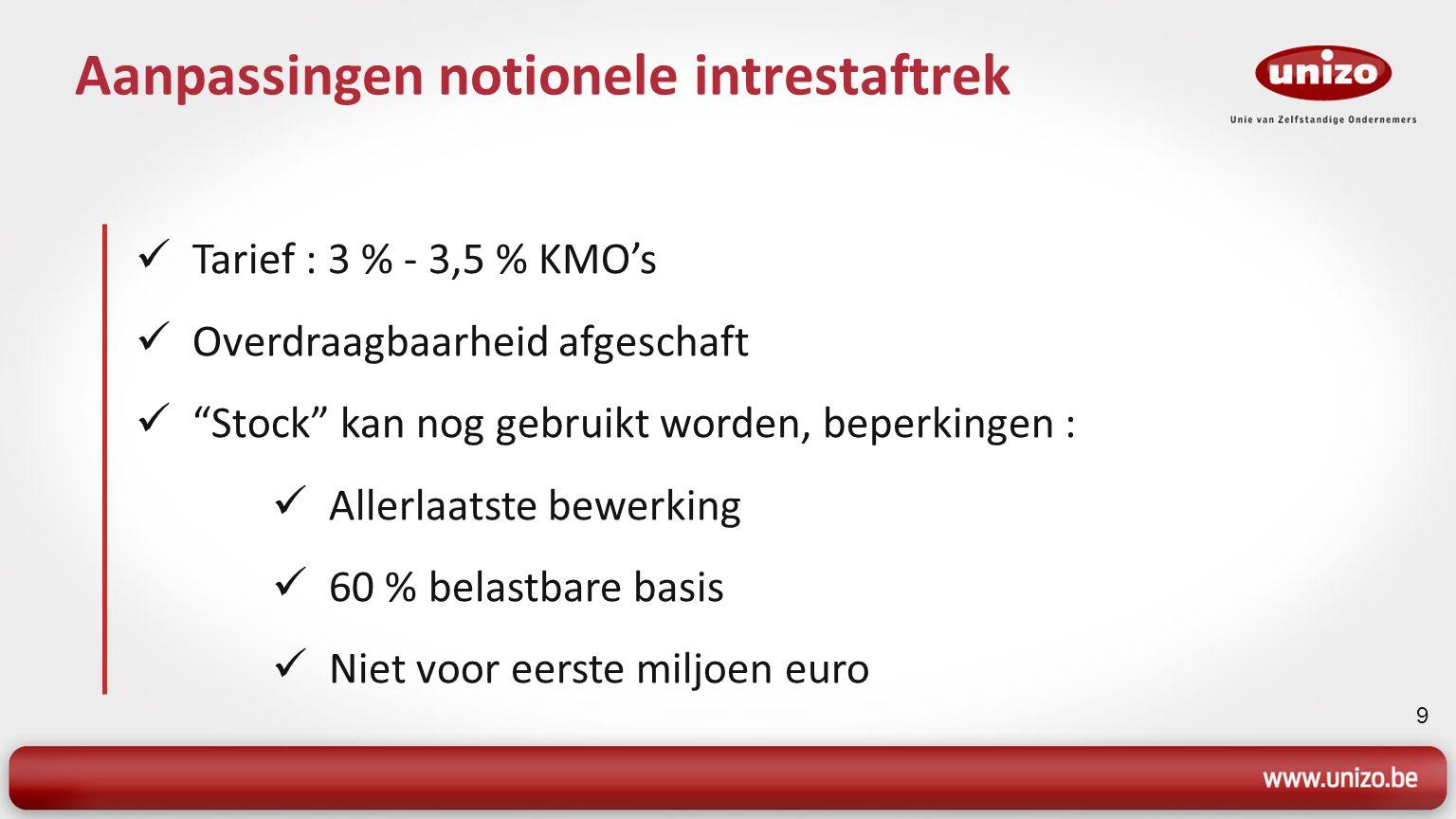 """9 Aanpassingen notionele intrestaftrek Tarief : 3 % - 3,5 % KMO's Overdraagbaarheid afgeschaft """"Stock"""" kan nog gebruikt worden, beperkingen : Allerlaa"""