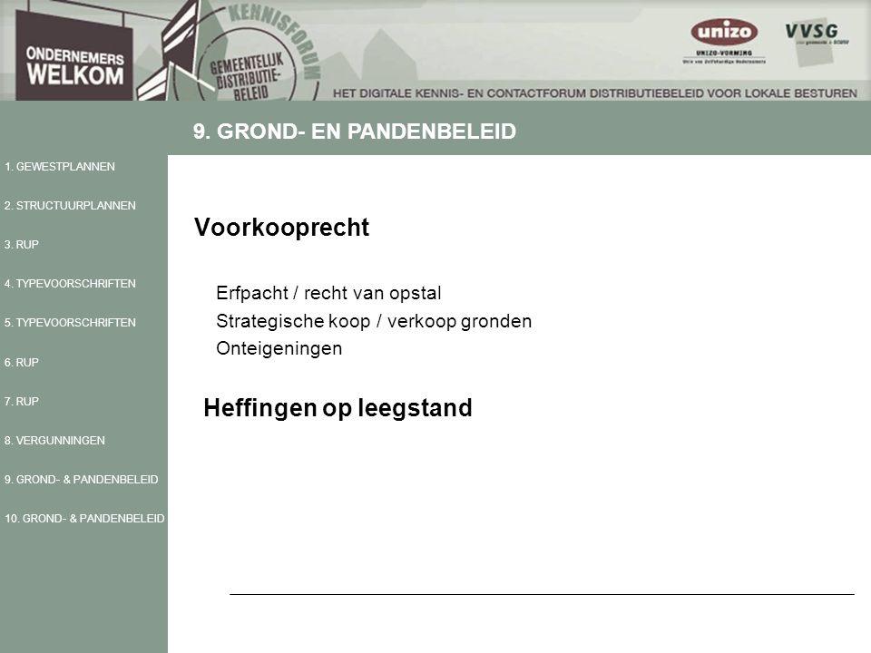 Voorkooprecht Erfpacht / recht van opstal Strategische koop / verkoop gronden Onteigeningen Heffingen op leegstand 1.
