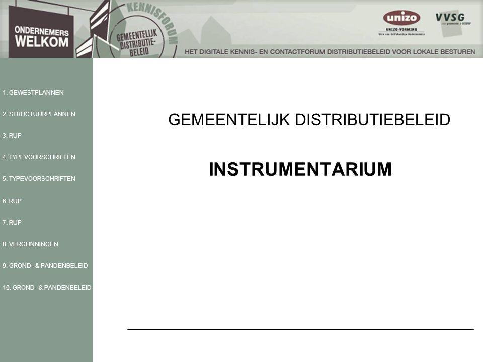 GEMEENTELIJK DISTRIBUTIEBELEID INSTRUMENTARIUM 1. GEWESTPLANNEN 2.