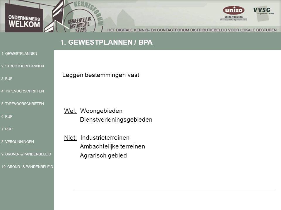 Leggen bestemmingen vast Wel: Woongebieden Dienstverleningsgebieden Niet: Industrieterreinen Ambachtelijke terreinen Agrarisch gebied 1. GEWESTPLANNEN