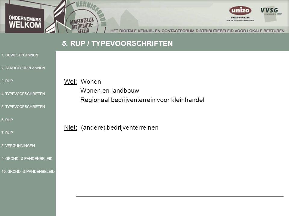Wel: Wonen Wonen en landbouw Regionaal bedrijventerrein voor kleinhandel Niet: (andere) bedrijventerreinen 1.