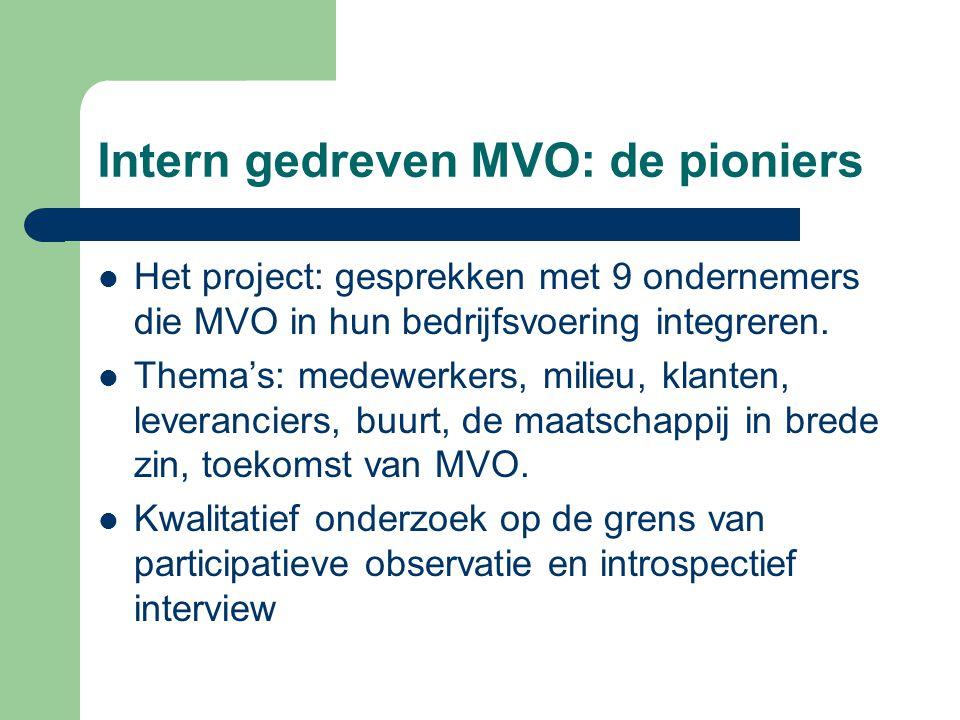 Intern gedreven MVO: de pioniers Het project: gesprekken met 9 ondernemers die MVO in hun bedrijfsvoering integreren.