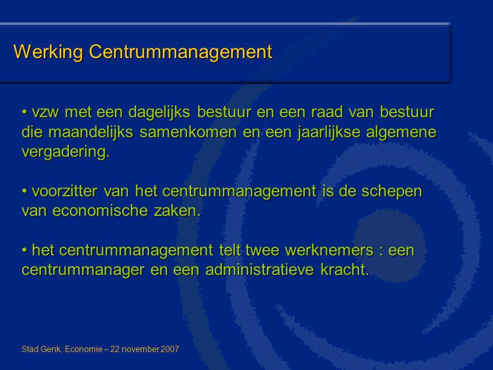 Werking Centrummanagement vzw met een dagelijks bestuur en een raad van bestuur die maandelijks samenkomen en een jaarlijkse algemene vergadering. vzw