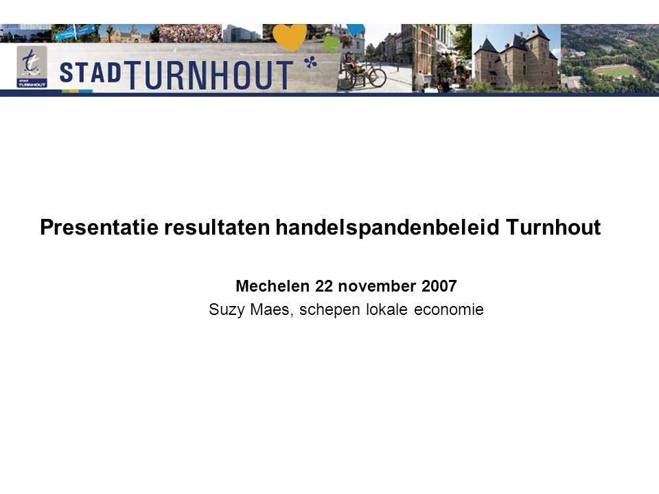 Presentatie resultaten handelspandenbeleid Turnhout Mechelen 22 november 2007 Suzy Maes, schepen lokale economie