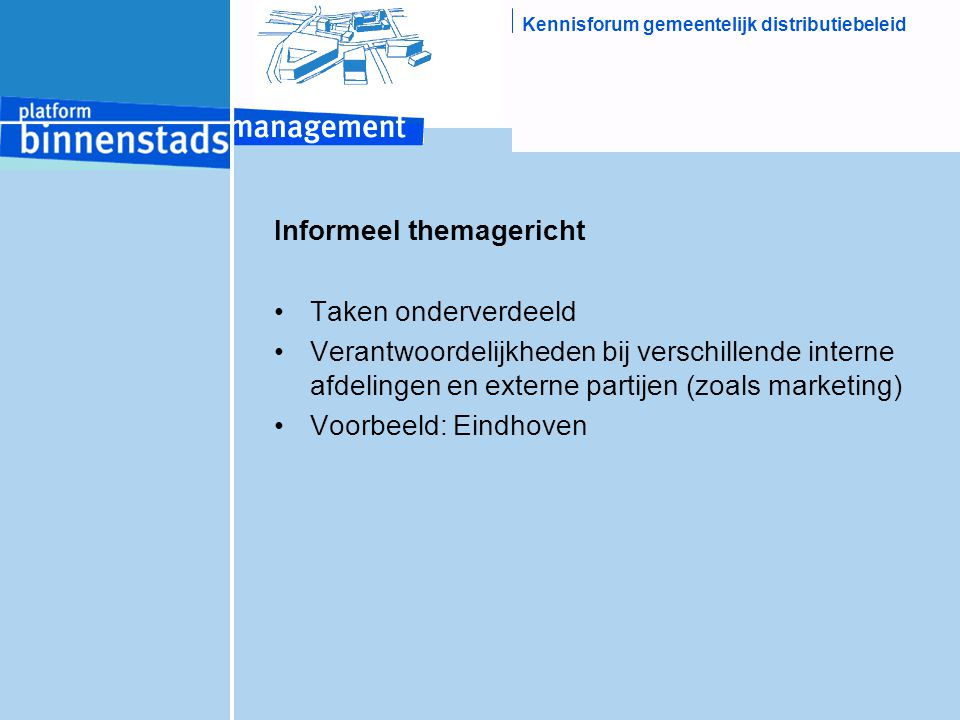 Kennisforum gemeentelijk distributiebeleid Informeel themagericht Taken onderverdeeld Verantwoordelijkheden bij verschillende interne afdelingen en externe partijen (zoals marketing) Voorbeeld: Eindhoven