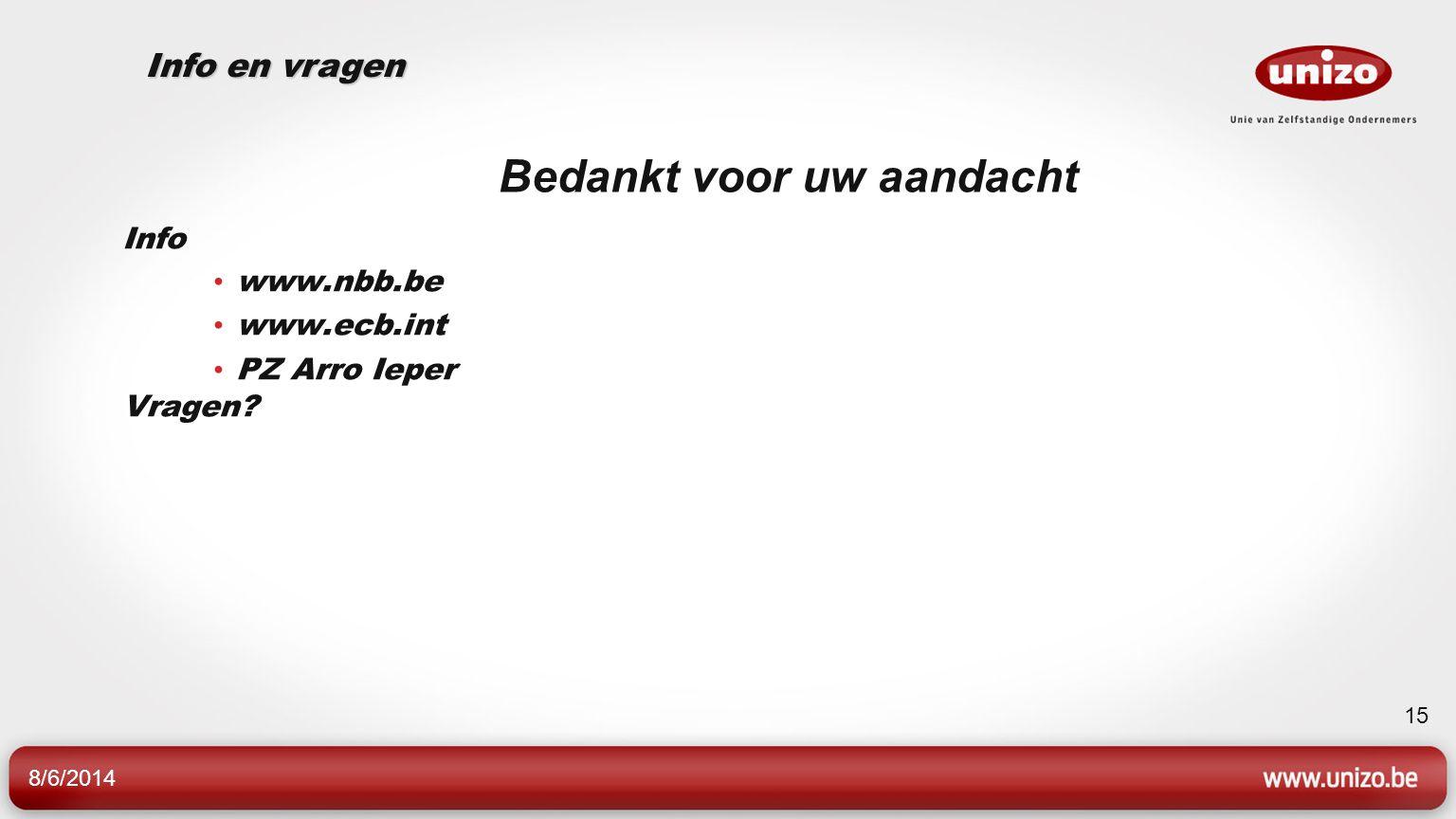 8/6/2014 15 Bedankt voor uw aandacht Info www.nbb.be www.ecb.int PZ Arro Ieper Vragen? Info en vragen