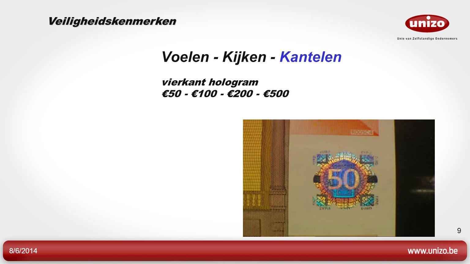 8/6/2014 9 Voelen - Kijken - Kantelen vierkant hologram €50 - €100 - €200 - €500 Veiligheidskenmerken
