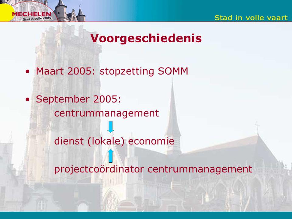 Voorgeschiedenis Maart 2005: stopzetting SOMM September 2005: centrummanagement dienst (lokale) economie projectcoördinator centrummanagement