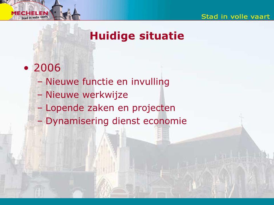 Huidige situatie 2006 –Nieuwe functie en invulling –Nieuwe werkwijze –Lopende zaken en projecten –Dynamisering dienst economie