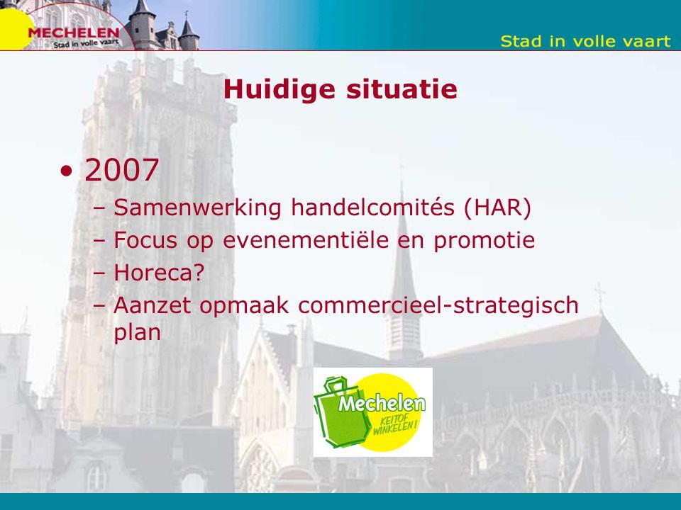 Huidige situatie 2007 –Samenwerking handelcomités (HAR) –Focus op evenementiële en promotie –Horeca.
