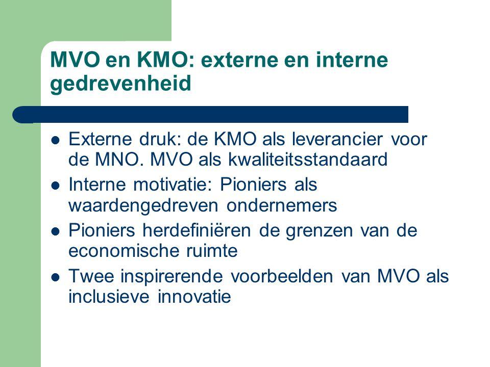 MVO en KMO: externe en interne gedrevenheid Externe druk: de KMO als leverancier voor de MNO.