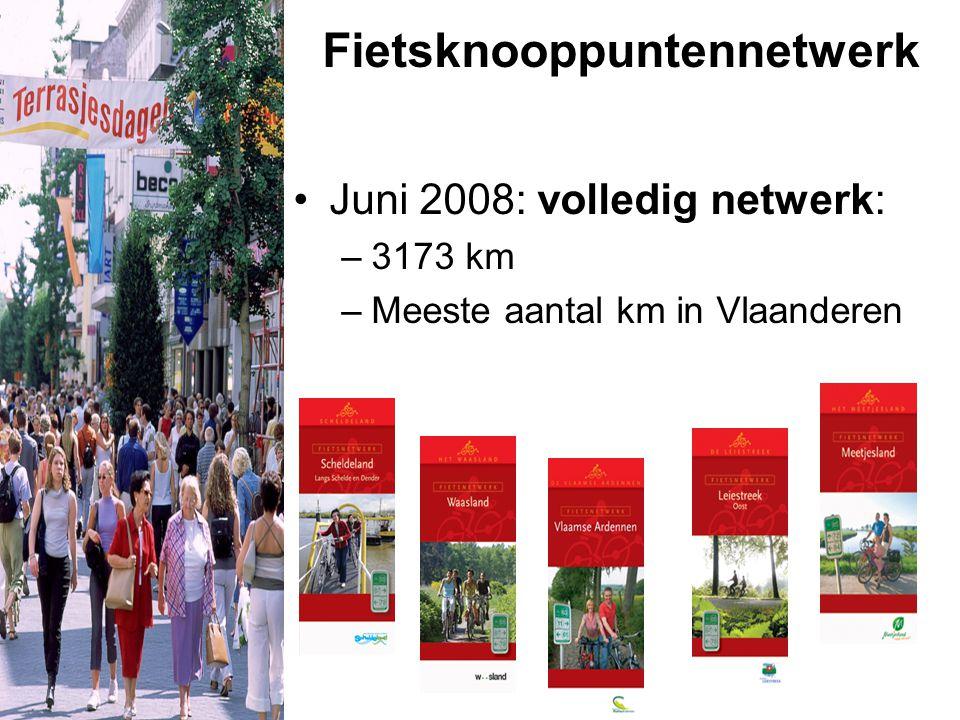 Fietsknooppuntennetwerk Juni 2008: volledig netwerk: –3173 km –Meeste aantal km in Vlaanderen