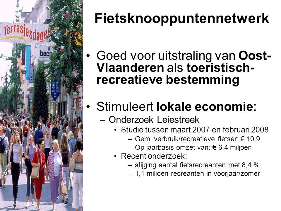 Fietsknooppuntennetwerk Goed voor uitstraling van Oost- Vlaanderen als toeristisch- recreatieve bestemming Stimuleert lokale economie: –Onderzoek Leiestreek Studie tussen maart 2007 en februari 2008 –Gem.