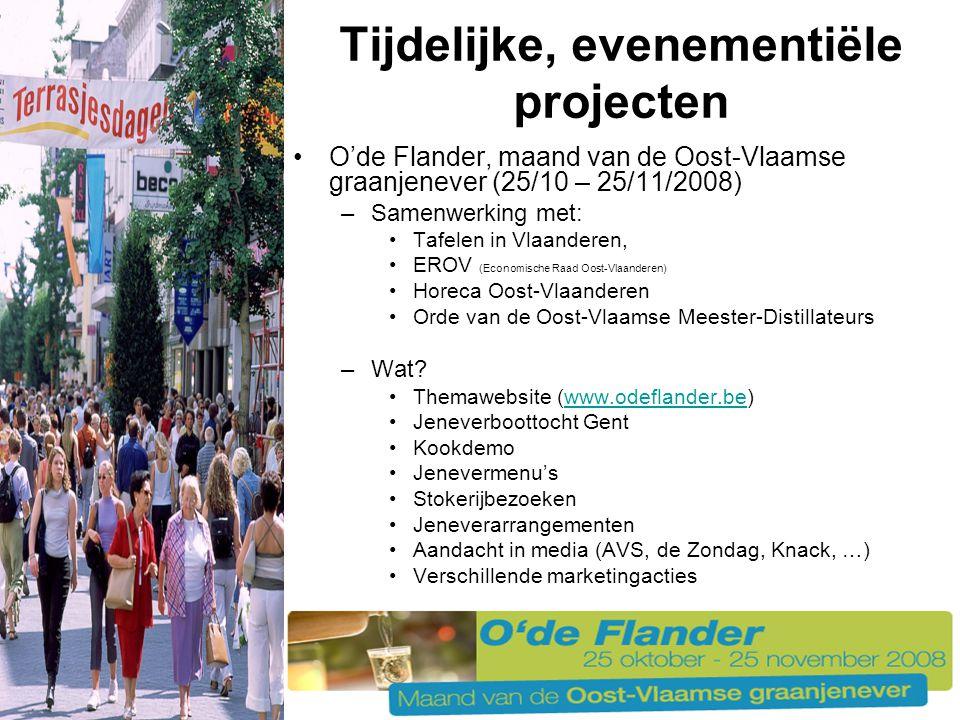 O'de Flander, maand van de Oost-Vlaamse graanjenever (25/10 – 25/11/2008) –Samenwerking met: Tafelen in Vlaanderen, EROV (Economische Raad Oost-Vlaanderen) Horeca Oost-Vlaanderen Orde van de Oost-Vlaamse Meester-Distillateurs –Wat.