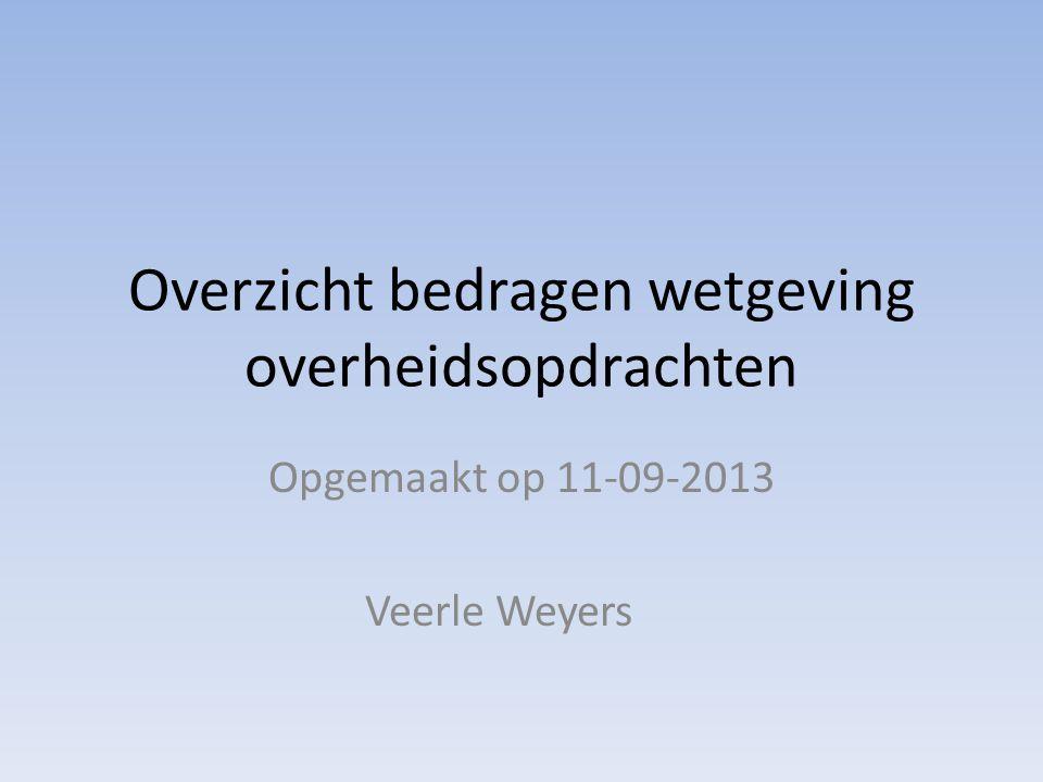 Overzicht bedragen wetgeving overheidsopdrachten Opgemaakt op 11-09-2013 Veerle Weyers