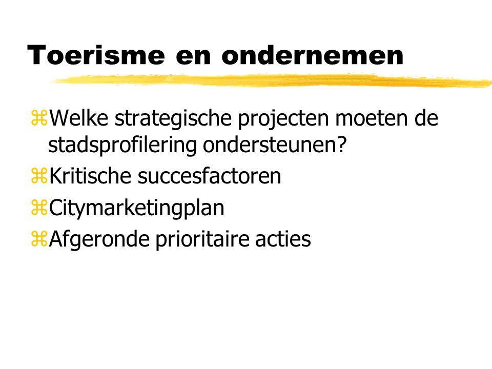 Toerisme en ondernemen zWelke strategische projecten moeten de stadsprofilering ondersteunen? zKritische succesfactoren zCitymarketingplan zAfgeronde