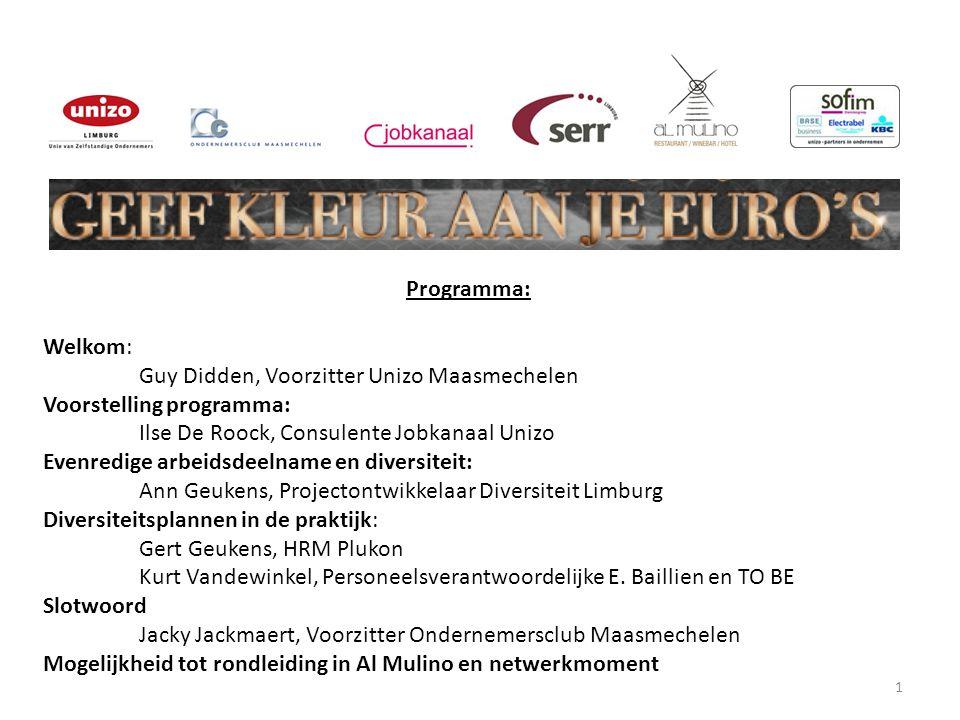 1 Programma: Welkom: Guy Didden, Voorzitter Unizo Maasmechelen Voorstelling programma: Ilse De Roock, Consulente Jobkanaal Unizo Evenredige arbeidsdee